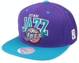 Utah Jazz Hwc Team Arch Purple/Teal Snapback - Mitchell & Ness
