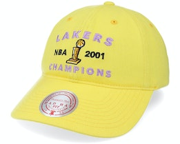 Los Angeles Lakers Stone Washed S Dad Hat Yellow Dad Cap - Mitchell & Ness