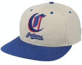 Cleveland Indians Old English Logo MLB Vintage Khaki/Blue Snapback - Twins Enterprise