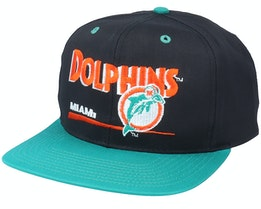 Miami Dolphins Classic NFL Vintage Black/Teal Snapback - Twins Enterprise