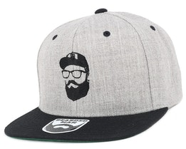 Cap Man Grey/Black Snapback - Bearded Man