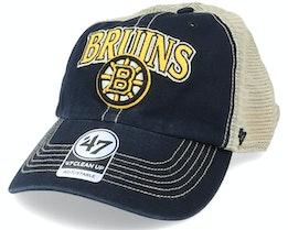 Boston Bruins Tuscaloosa Clean Up Dad Cap Vintage Black/Beige Trucker - 47 Brand