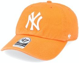 New York Yankees Clean Up Dad Cap Vibrant Orange Adjustable - 47 Brand