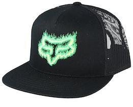 Flame Head Black/Green Trucker - Fox