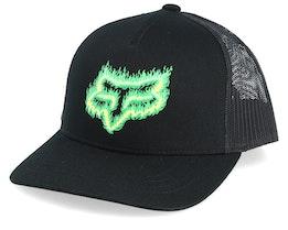 Kids Flame Head Black/Green Trucker - Fox