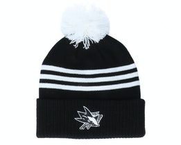 San Jose Sharks 3-Stripe Cuffed Black Pom - Adidas