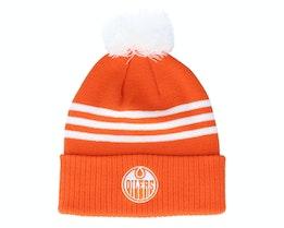 Edmonton Oilers 3-Stripe Cuffed Orange Pom - Adidas
