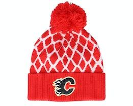 Calgary Flames Culture Cuffed Knit Red Pom - Adidas