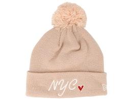 Kids NYC Knit Bobble Pink/Sparkles Pom - New Era
