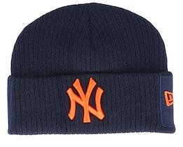 New York Yankees Utility Cuff Knit Navy/Orange Short Beanie - New Era