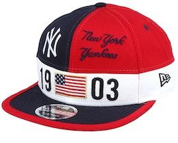 New York Yankees Colour Block Lg 9fifty Navy/Red Snapback - New Era