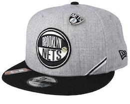 Brooklyn Nets 19 NBA 9Fifty Draft Heather Grey/Black Snapback  - New Era