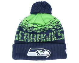 Seattle Seahawks NFL Sport Knit Cuff Navy/Green Pom - New Era