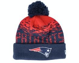 New England Patriots NFL Sport Knit Cuff Navy/Red Pom - New Era