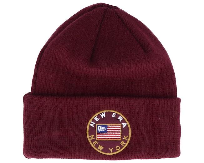 Flagged Knit Maroon Cuff - New Era