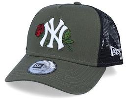 New York Yankees Mens Twine Green/Black Trucker - New Era