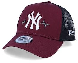 New York Yankees Mens Twine Maroon/Black Trucker - New Era