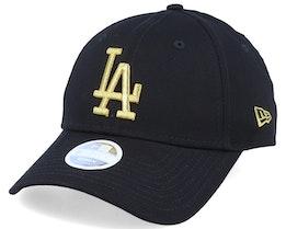 Los Angeles Dodgers Women Metallic 9Forty Black/Gold Adjustable - New Era