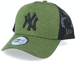 New York Yankees Shadow Tech A-Frame Heather Green/Black Trucker - New Era