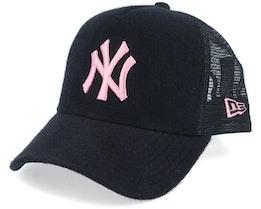 New York Yankees A-Frame Felt Black/Pink Trucker - New Era
