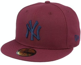 New York Yankees Mlb 59Fifty Maroon/Navy Fitted - New Era