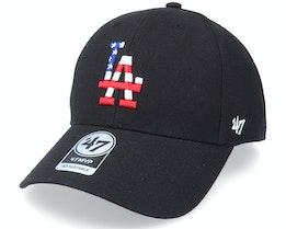Los Angeles Dodgers Flag Fill Mvp Black Adjustable - 47 Brand