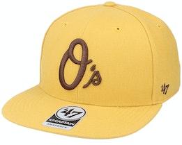 Baltimore Orioles No Shot Captain Wheat/Brown Snapback - 47 Brand