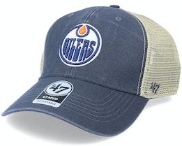 Edmonton Oilers Flagship Wash Mvp Vintage Navy/Beige Trucker - 47 Brand