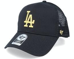 Los Angeles Dodgers Branson Metallic Mvp Black/Gold Trucker - 47 Brand