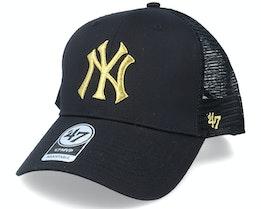 New York Yankees Branson Metallic Mvp Black/Gold Trucker - 47 Brand
