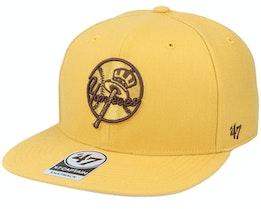 New York Yankees Script No Shot Captain Wheat/Brown Snapback - 47 Brand