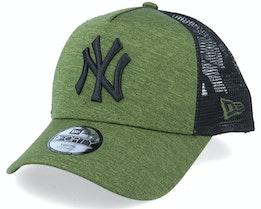 Kids New York Yankees Shadow Tech A-Frame Trucker Heather Green/Black Trucker - New Era