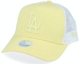 Los Angeles Dodgers Womens League Essential Light Yellow/Light Yellow/White Trucker - New Era