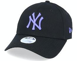 New York Yankees Womens League Essential 9Forty Black/Purple Adjustable - New Era