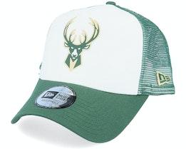 Milwaukee Bucks Colour Block OTC White/Green Trucker - New Era