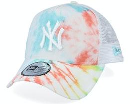 New York Yankees MLB Tie Dye White Multi Color Trucker - New Era