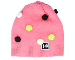 Kids Multi Hair Pom Beanie Pink Lemonade/Black/White Beanie - Under Armour