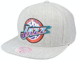 Utah Jazz Utah Jazz Team Heather Hwc Heather Grey Snapback - Mitchell & Ness