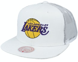 Los Angeles Lakers Cool Down White Trucker - Mitchell & Ness