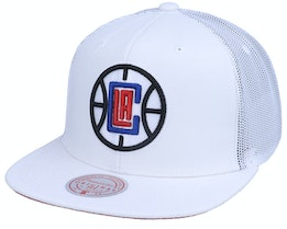 Los Angeles Clippers Cool Down White Trucker - Mitchell & Ness