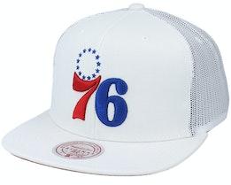 Philadelphia 76ers Cool Down White Trucker - Mitchell & Ness