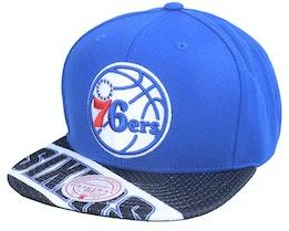 Philadelphia 76ers Slash Century Royal/Black Snapback - Mitchell & Ness