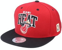 Miami Heat Team Arch 2 Tone Red/Black Snapback - Mitchell & Ness