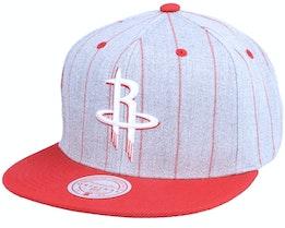 Houston Rockets Grey Pin Pop Heather Grey Snapback - Mitchell & Ness