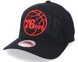 Philadelphia 76ers Double Triple Stretch Hwc Black Adjustable - Mitchell & Ness