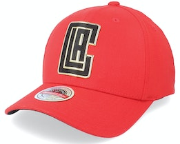 Los Angeles Clippers Golden Black Stretch Red Adjustable - Mitchell & Ness