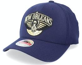 New Orleans Pelicans Golden Black Stretch Navy Adjustable - Mitchell & Ness