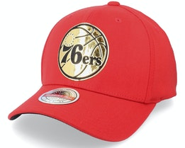 Philadelphia 76ers Golden Black Stretch Red Adjustable - Mitchell & Ness