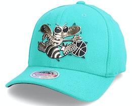Charlotte Hornets Golden Black Stretch Hwc Teal Adjustable - Mitchell & Ness
