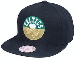 Boston Celtics Gold Dip Down Black Snapback - Mitchell & Ness